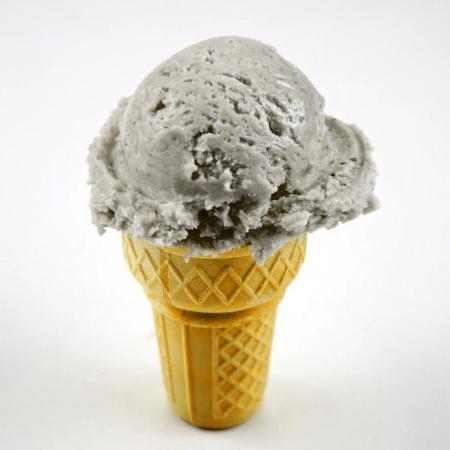 A strawberry ice cream cone.  Source:  Wikimedia