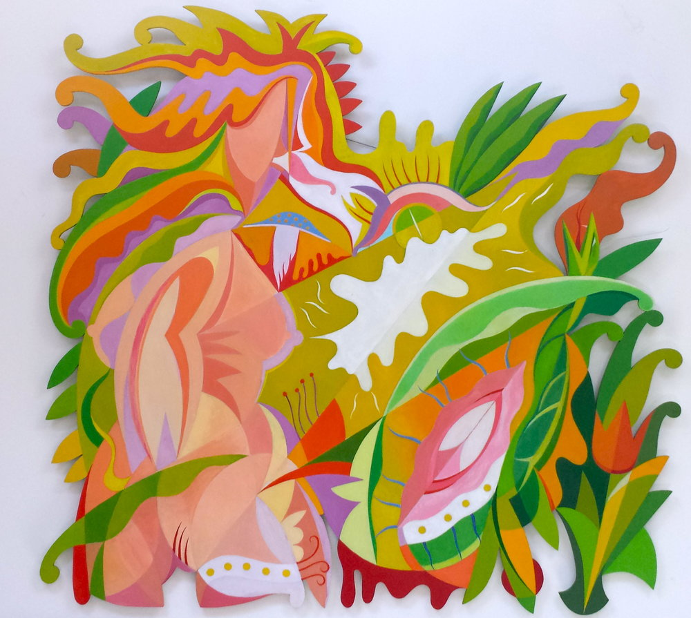 The Sins of Eve , 2002, Oil on hand-cut honeycomb aluminum, 72 x 68""