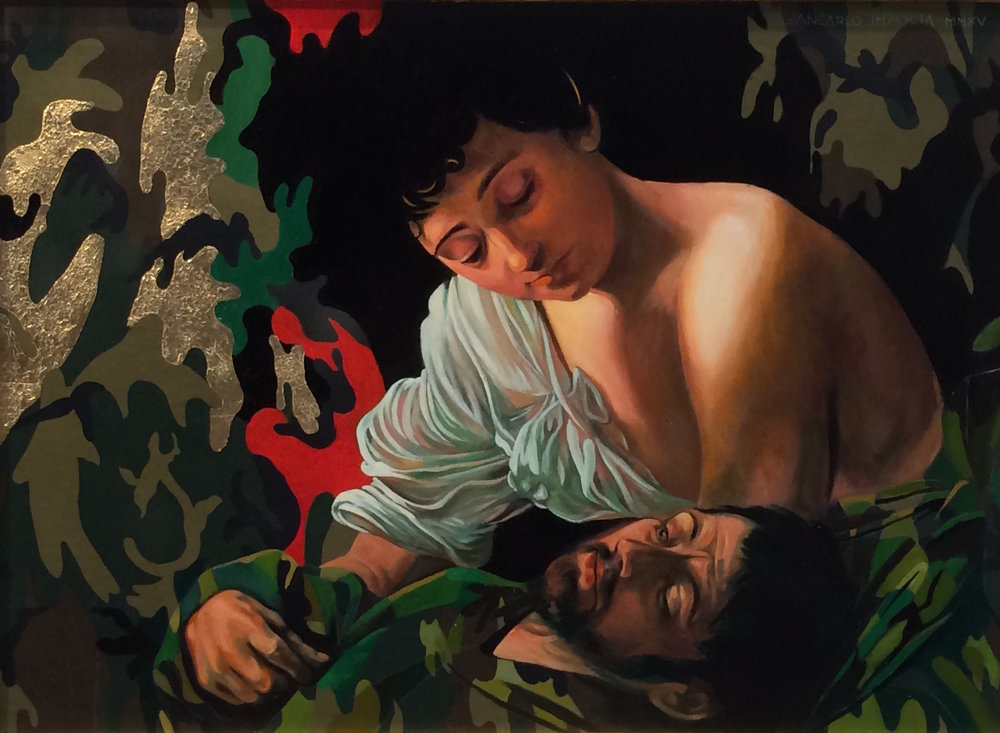 The Embrace , 2015, Oil and gold leaf on camouflage canvas, 33 x 23""