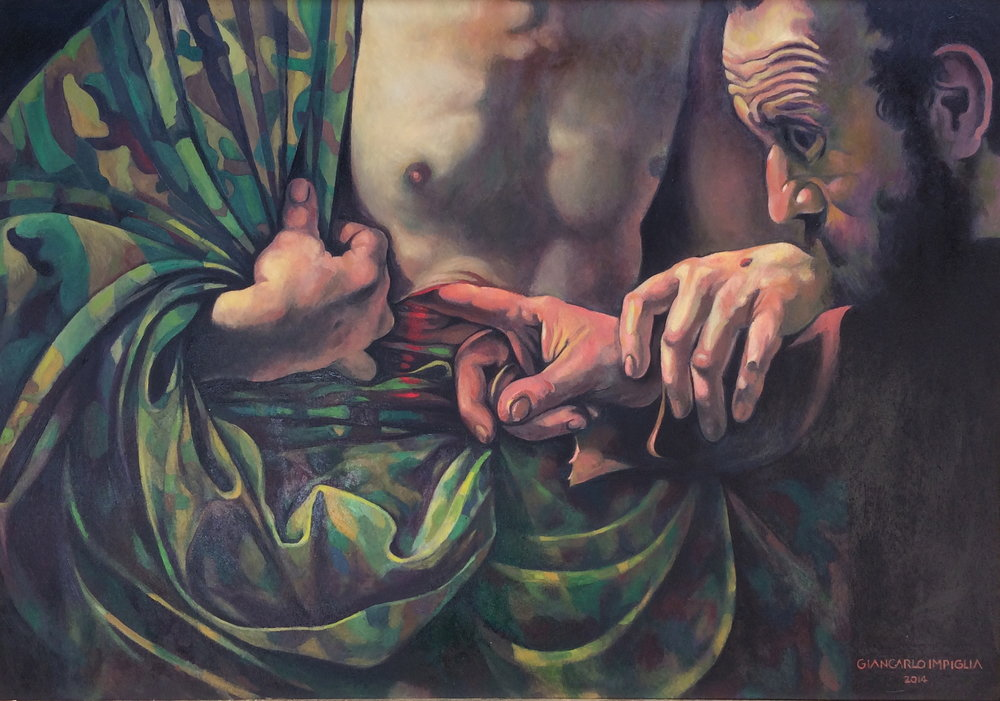 The Wound , 2014, Oil on canvas, 36 x 25""