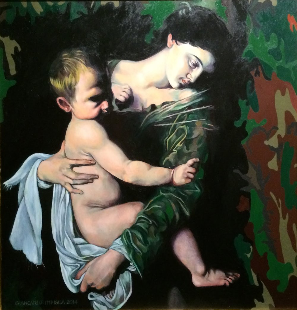 Mother and Child , 2014, Oil on camouflage canvas, 34 x 36""