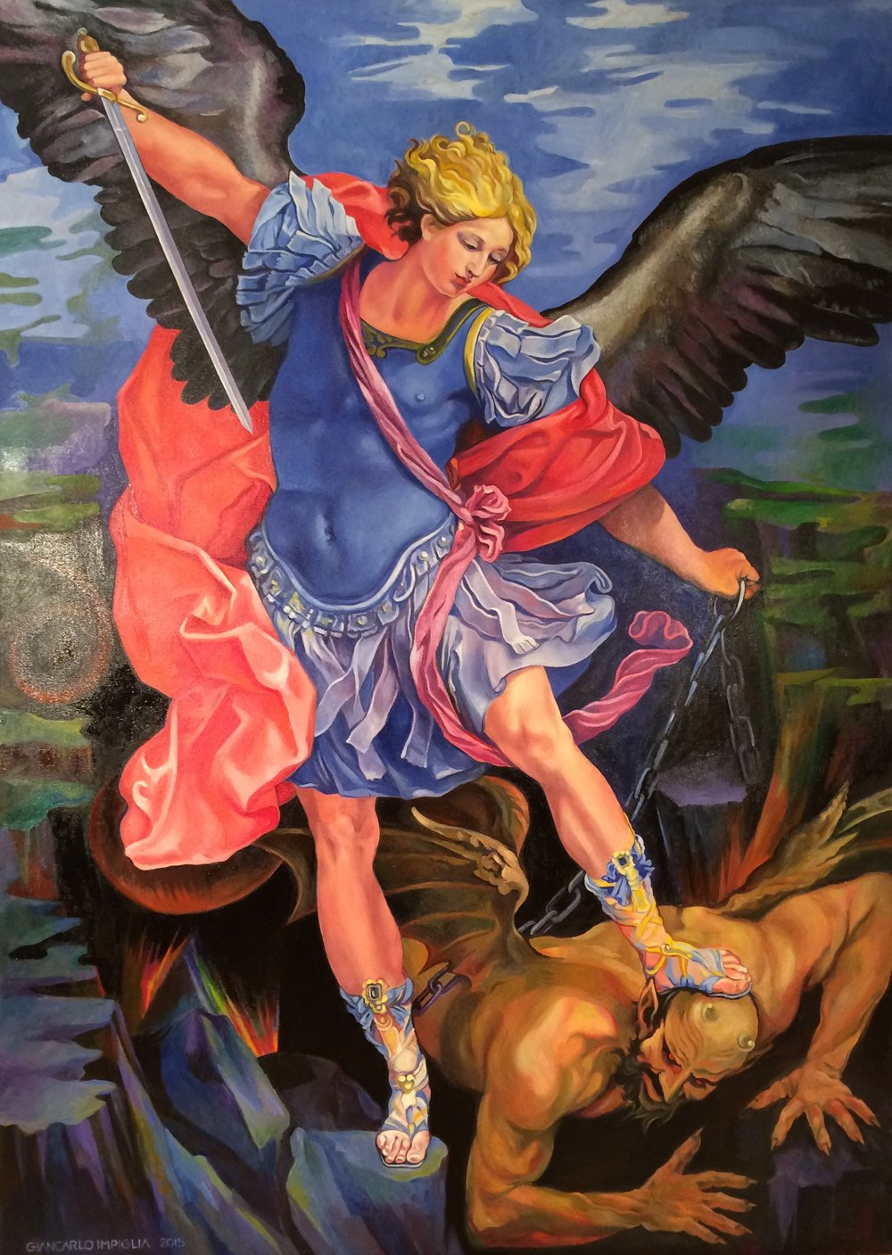 The Triumph , 2015, Oil on camouflage canvas, 47 x 66""