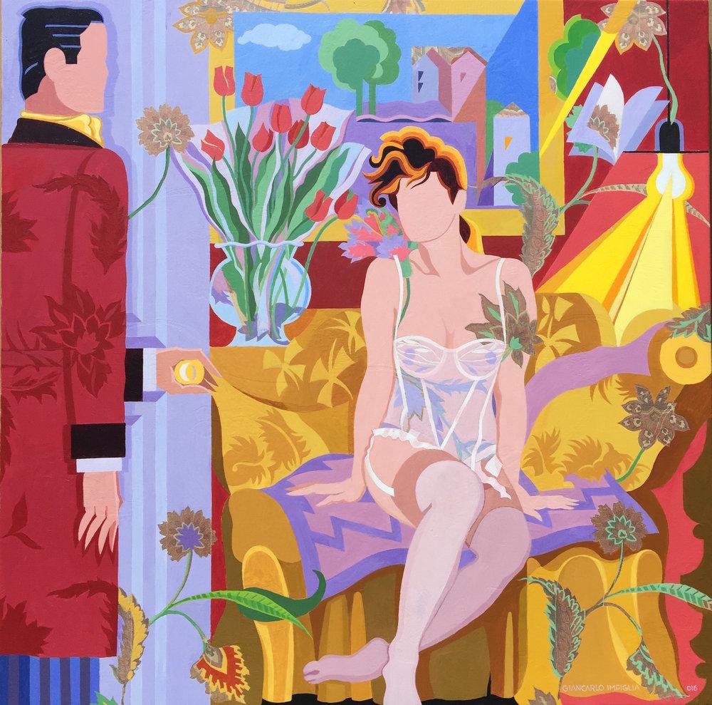 """The Secret Affair , 2015, Oil on silk, 48 x 60"""""""