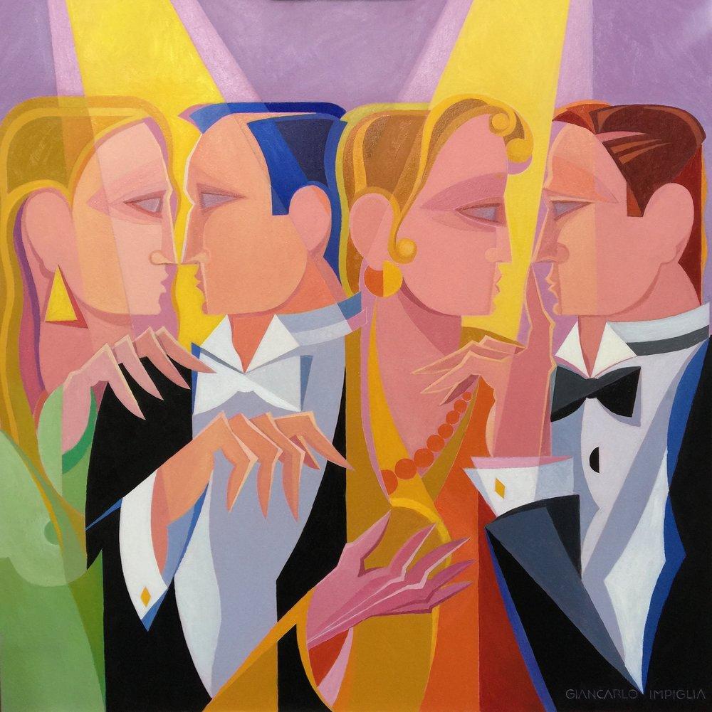 """Gossip , 2017, Oil on panel, 40 x 40"""""""