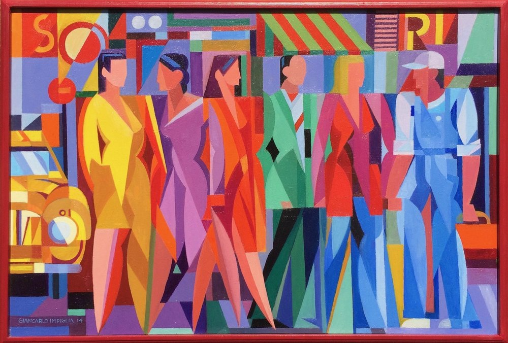Crowded Street , 2014, Oil on canvas, 37 x 27""