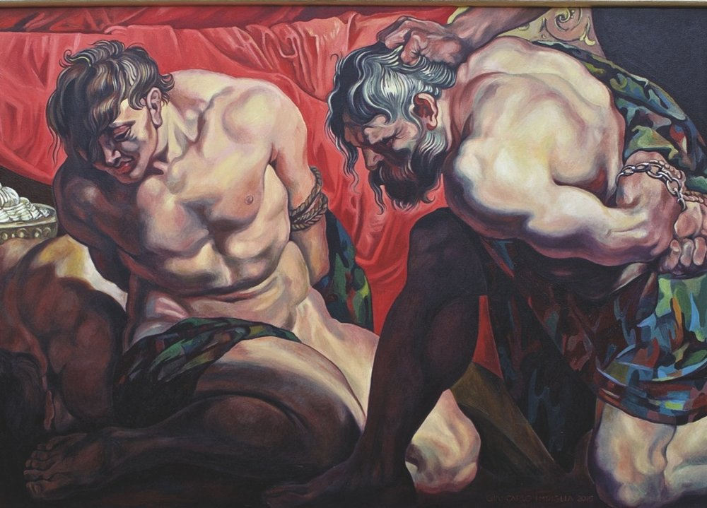 Prisoners,  2015, Oil on camouflage canvas, 60 x 39""