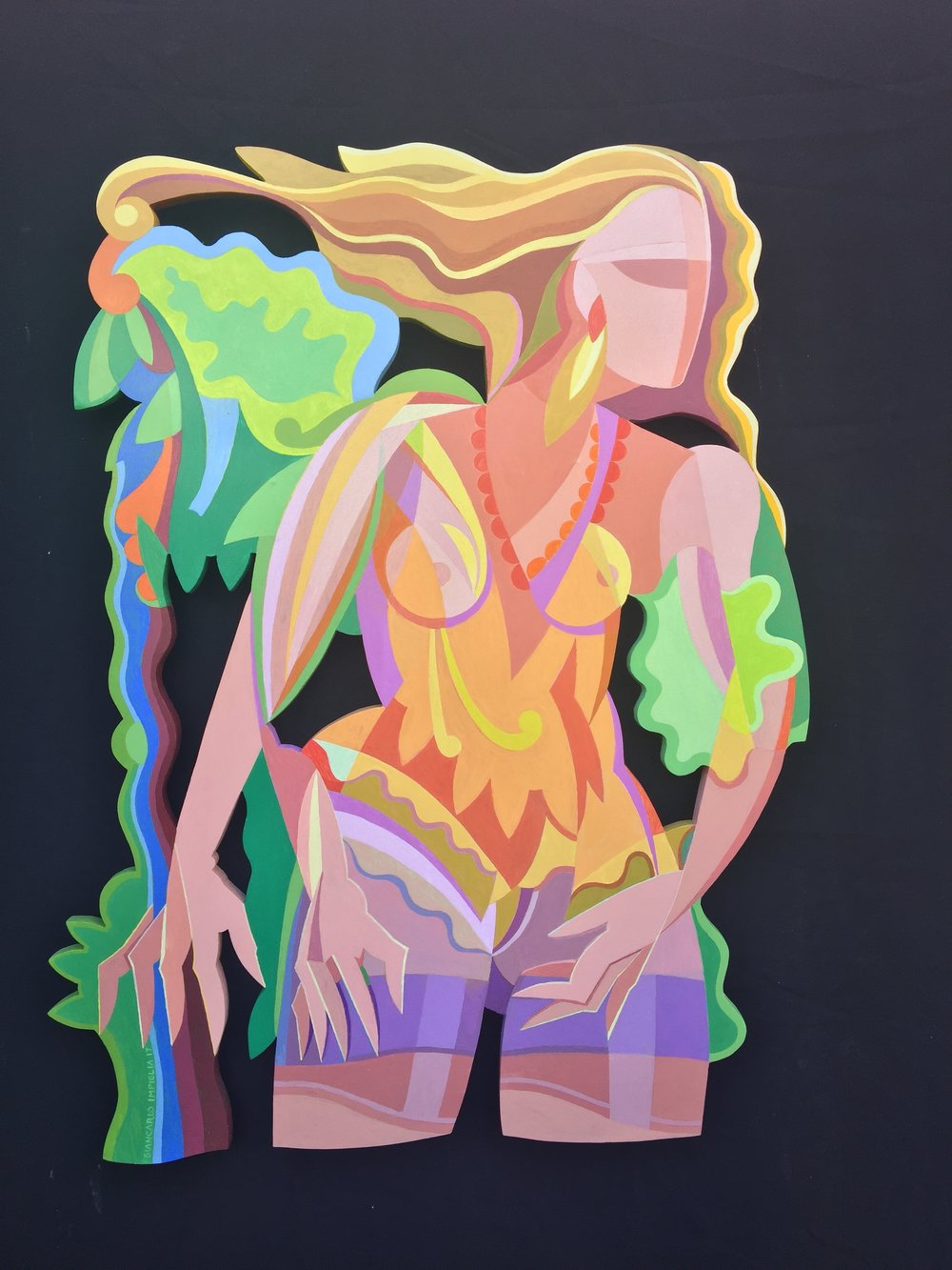 Artemisia , 2017, Oil on hand-cut honeycomb aluminum, 35 x 44""