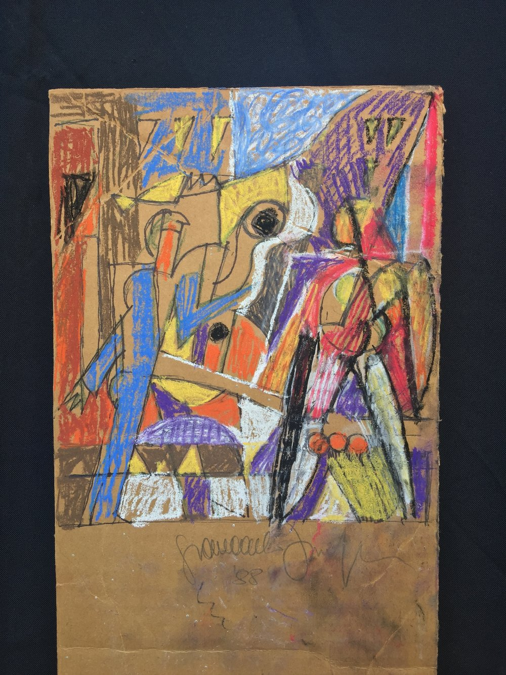 Sketch, 1988 (colored 2017), Pastel on cardboard, 6 x 4""