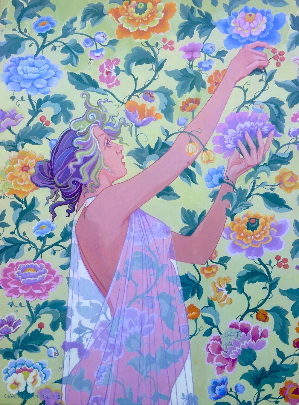 Impiglia_FlowerPicker_Acryliconpatternedpaper_53x40.JPG
