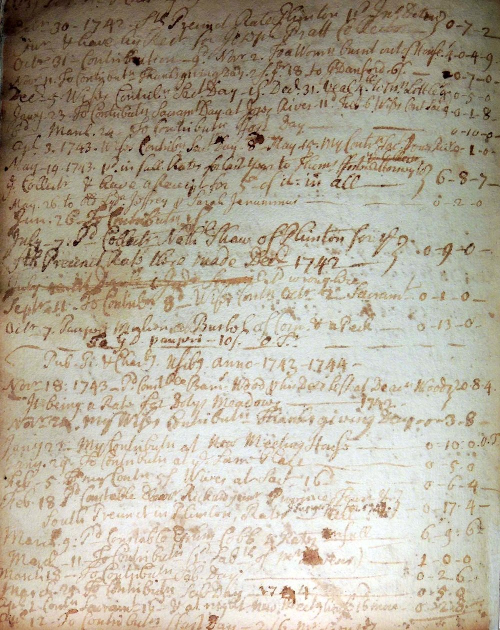 "Josiah Cotton's list of ""Publick"" and ""Charitable"" contributions, 1743–1744. Courtesy Pilgrim Hall Museum, Plymouth, Mass."