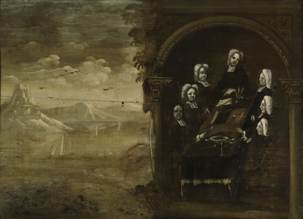 Unidentified Artist,  Council of Ministers  (circa 1744). Oil on wood panel, 77.3 × 106 cm. Harvard Art Museums/Fogg Museum, Gift of Dr. Francis L. Burnett and Mrs. Esther Lowell Cunningham.