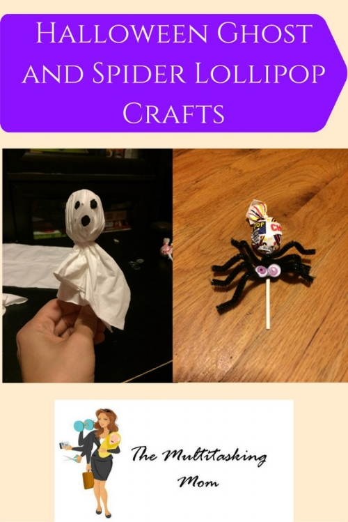 Last week, T and I decided to create our Halloween craft project.  This year we made ghosts and spiders out of lollipops and a few basic crafting supplies. This is a fun craft for toddlers and great for Halloween parties or for bringing treats to school.