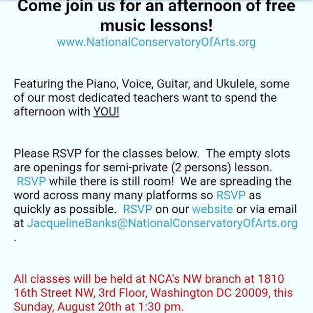 Our most dedicated faculty want to spend the afternoon with YOU!  Come join us for a day of free lessons!  RSVP before classes fill up.  #musiclessons #piano #guitar #voicelessons