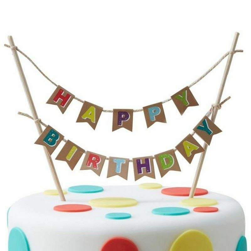 Happy Birthday Bunting Cake Topper