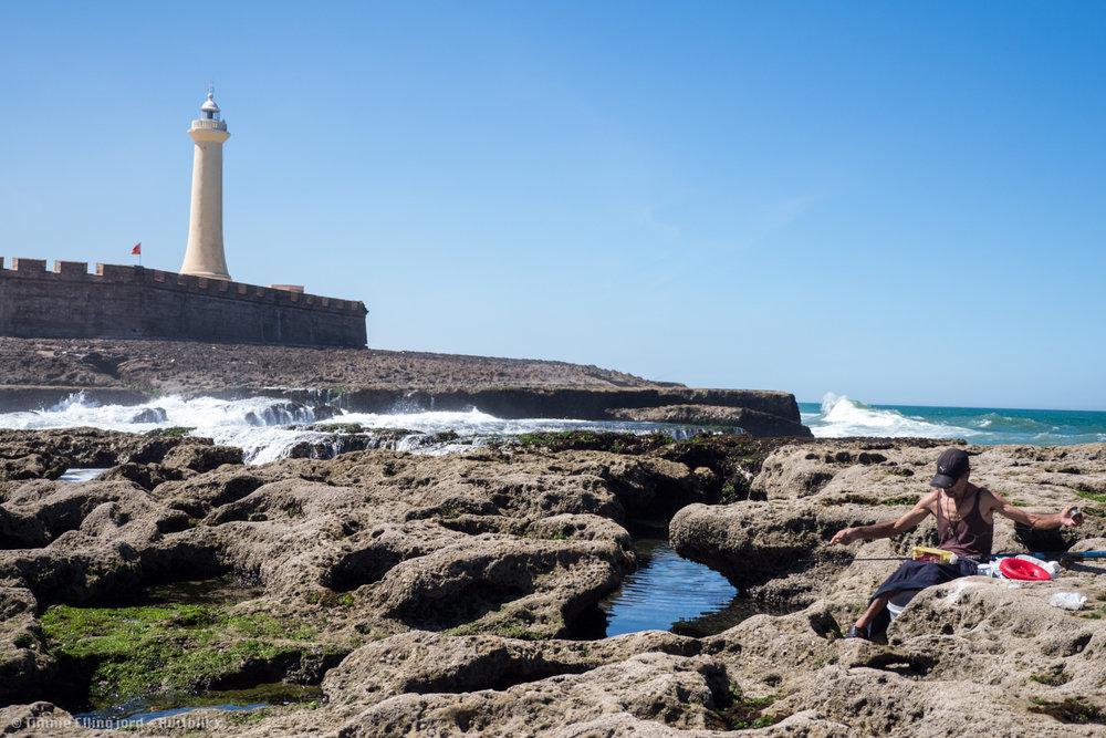 local fishermen close to the Rabat lighthouse