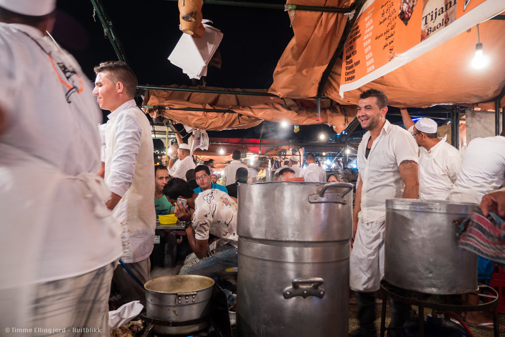 having dinner in the Marrakech bazar