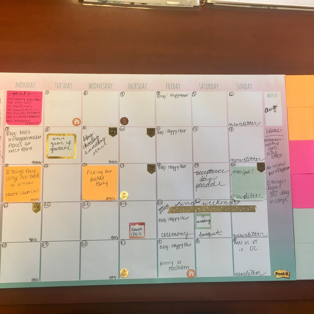 post it note calendar, planner ideas, blog planner ideas, blog editorial calendar