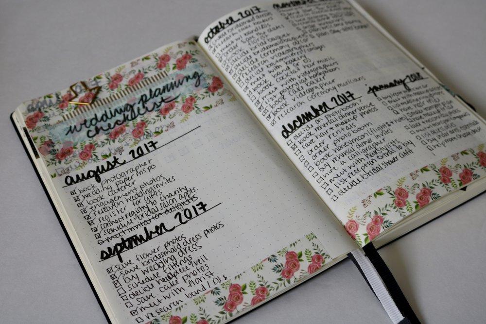 bullet journal wedding planner, bullet journal wedding checklist, wedding checklist for bullet journal, bullet journal ideas