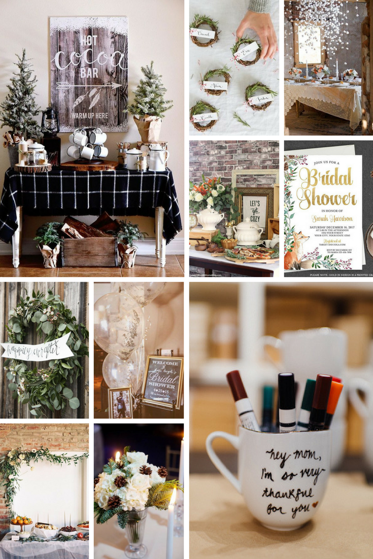 Winter Bridal Shower Inspiration, winter bridal shower ideas, winter bridal shower theme, holiday bridal shower theme,