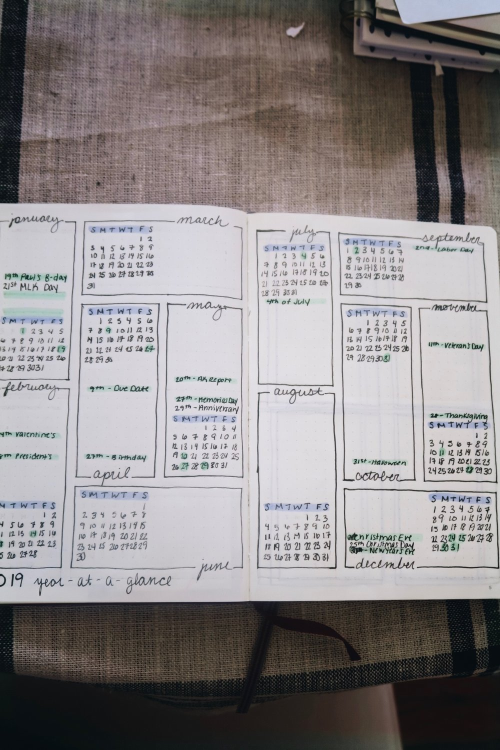 2019 Bullet Journal Setup   Year-at-a-Glance