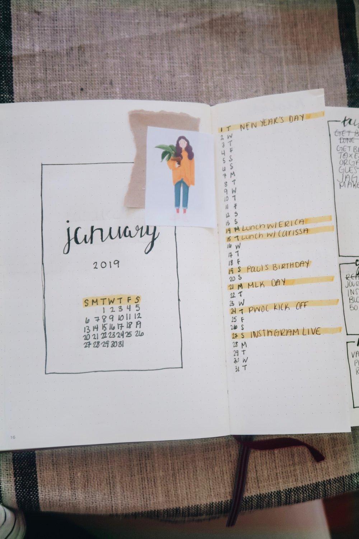 2019 Bullet Journal Setup   Monthly Spread