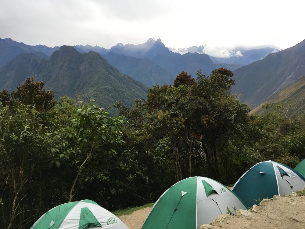 Camping along the Inca trail.