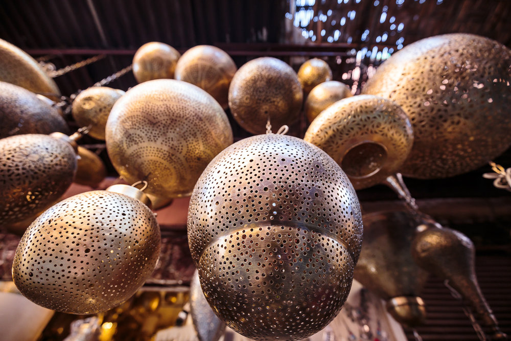 One of the crafts in which the artisans of Marrakech excel is the handwork of copper lamps. They are sold throughout the city and are used as ornaments and to illuminate rooms with a soft, diffused light.