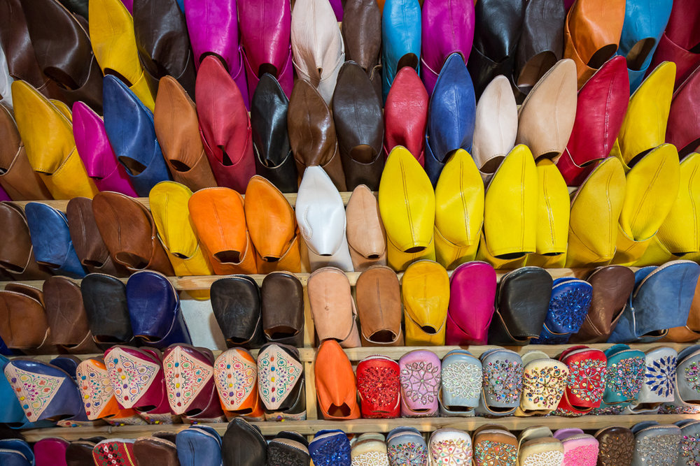 Most of the processed leather is dedicated to the production of babouche shoes, leather bags, leather jackets and pouffes.