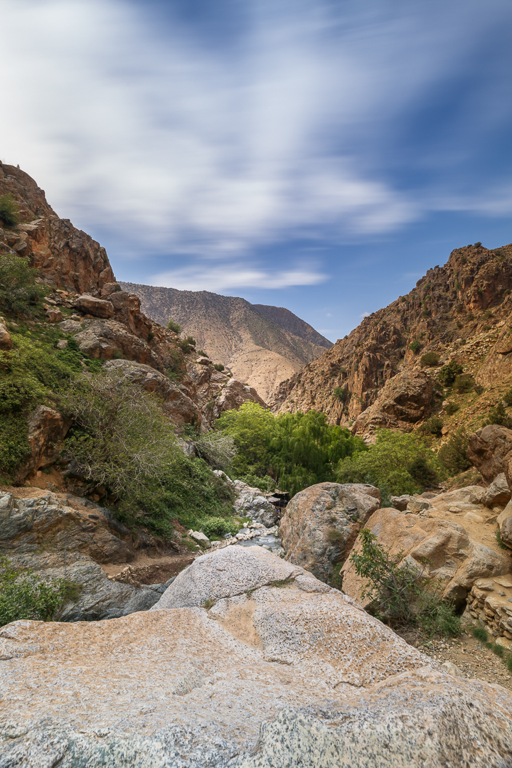 "The Ourika Valley cuts right into the High Atlas, whose peaks begin to dominate as soon as you leave Marrakesh. The region is inhabited by Berber people who practice a traditional way of life. Despite its proximity to Marrakech, it is still considered relatively ""unspoiled."""