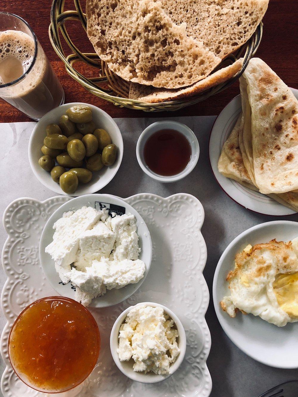 A fresh Moroccan breakfast spread.