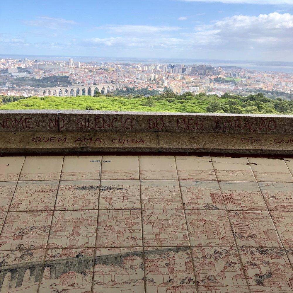 Artistic vista overlooking Lisbon.