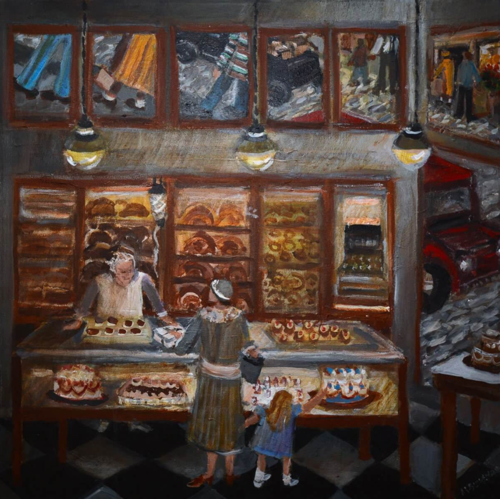 Bakery, by Rochelle Blumenfeld. Painting from her recent Hill District series.