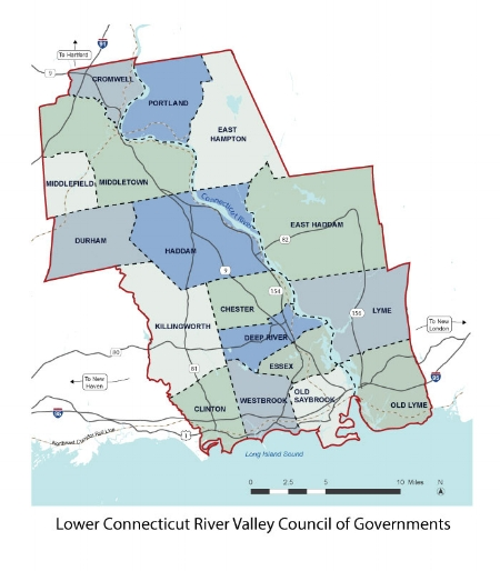 - The region is comprised of fifteen towns from Middlesex County (Chester, Clinton, Cromwell, Deep River, Durham, East Haddam, East Hampton, Essex, Haddam, Killingworth, Middlefield, Middletown, Old Saybrook, Portland and Westbrook) and two towns from New London County (Lyme and Old Lyme).  Middletown, located on the Connecticut River, serves as the region's urban area.Major highways in the region include east-west Interstate 95 connecting New Haven to New London, north-south Interstate 91 connecting New Haven to Hartford, and State Route 9 connecting Interstate 95 in Old Saybrook to Interstate 91 after passing through Middletown.The shoreline is served by Amtrak and the Shoreline East rail lines.