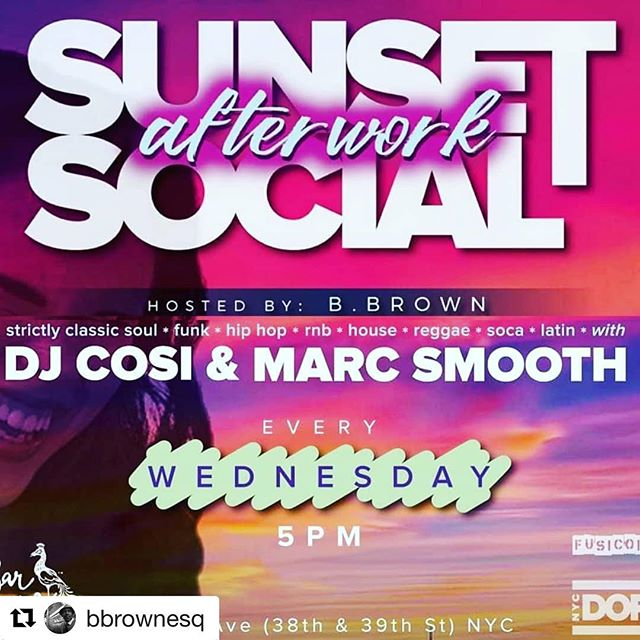 #Repost @bbrownesq with @get_repost ・・・ As the sun ☉ sets on our day & since it's #HumpDay, it will also start to set on our week, come hang out on the #Westside (39th & 9th Ave) TONIGHT with our crew! #TheSunSetsInTheWest! #NYC! #Sunset! Starts @ 5pm. Ends when we start to cramp from dancing. 😂🕺🏾💃🏾🕴😎 #Disclaimer from #ExcessiveCelebration: this weekly event was already HOT, tonight we dial up to EXCESSIVE ... #GonnaBeAScorcher! 🔥🔥🔥 ... Join me #afterwork for 2 levels of tasty cocktails, eclectic eats, & chic peeps featuring a #RetractableRoof as I kickoff as the new host alongside @djcosito & @djmarcsmooth