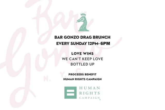 It's Pride March this weekend 🌈 Show your love for all! We at Bar Gonzo have some events lined up this weekend, including our very special Drag Brunch, so stay tuned!  #bargonzonyc #lovewins #nycpride #prideweek #pridemonth #lgbtq #lgbt #nycbars #dragbrunch #dragbrunchnyc