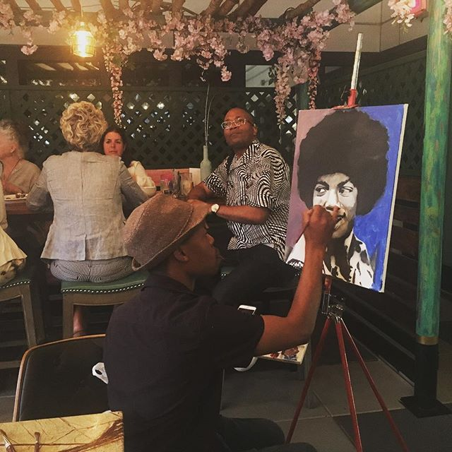 Check out this live painting of the king #michaeljackson during our #sunsetsocial party with @djmarcsmooth look out for more awesome events at #bargonzonyc this summer!! #kingofpop #happyhour #fuckitiloveyou #nyceats #happyhournyc