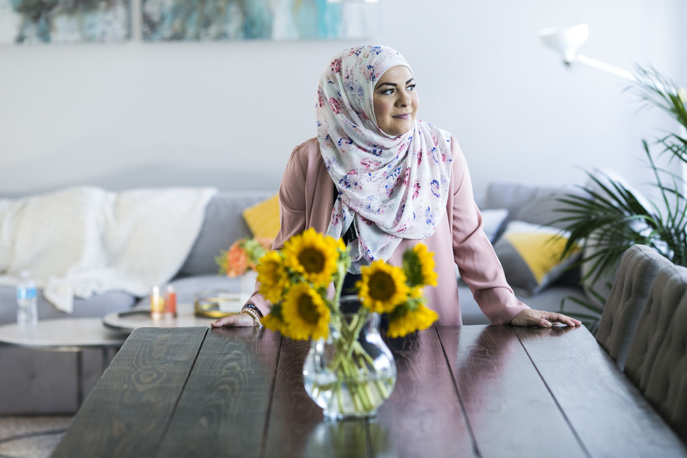 manda Saab, 28, after making Namoora, a middle eastern pastry made with farimina, a finer version of semolina, yogurt, butter, sugar, topped with almonds in preparation for Ramadan at her home in Huron Charter Township, Mich., on Sunday, May 21, 2017.
