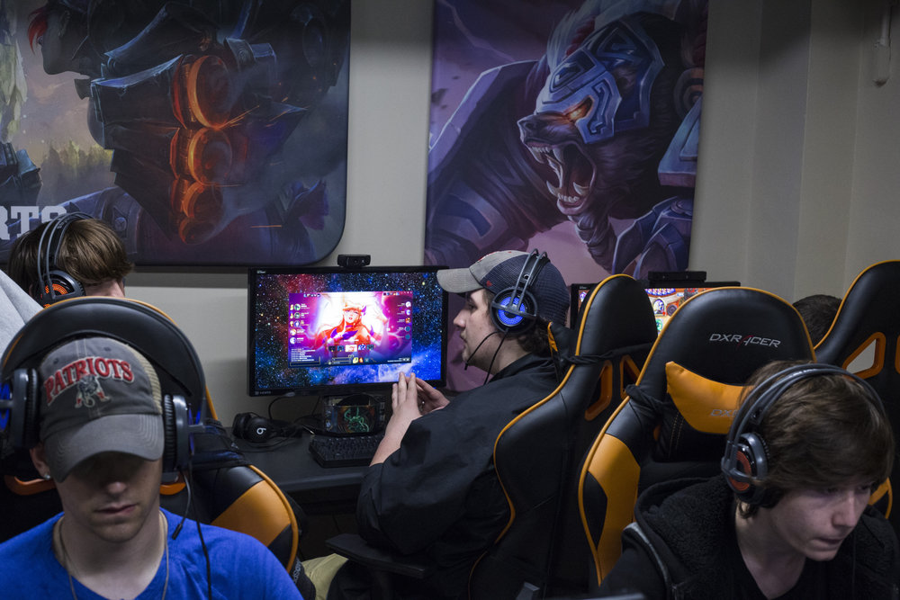 Pro-gamers spend their evening tactfully planning their next moves at the University of Pikeville's ESports Arena in Pikeville, Ky., on Thursday, September 21, 2017. The University has offered scholarships to the students who are classified as student athletes on campus.