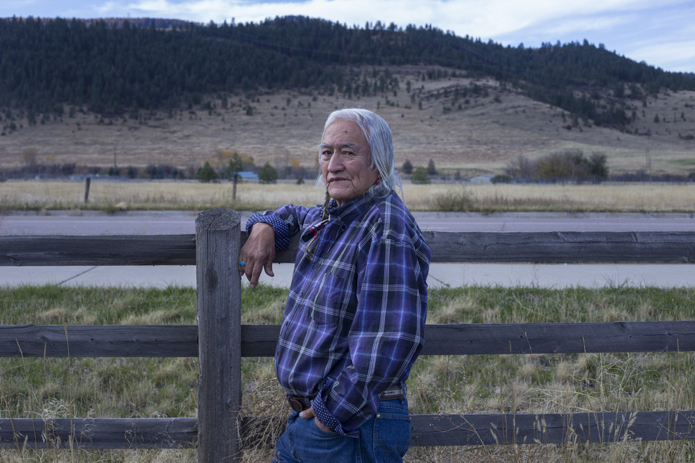 Stephen Small Salmon, 78, outside of Nkwusm, a Salish language school where he teaches, in Arlee, Montana., on October, 2017. Small Salmon is one of the few fluent speakers of the Salish tribal language on the Flathead Reservation.