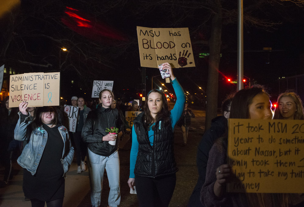 Protests at MSU following the Larry Nassar case for The New York Times   https://www.nytimes.com/2018/01/27/us/michigan-state-nassar-fitzgerald.html
