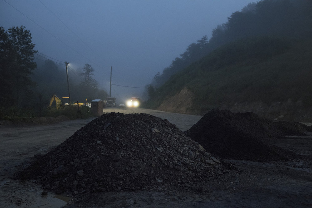 A truck pulls in at the beginning of the workday at Cheyenne Enterprises Mining in Tram, Floyd County, Kentucky, on August 7, 2018.