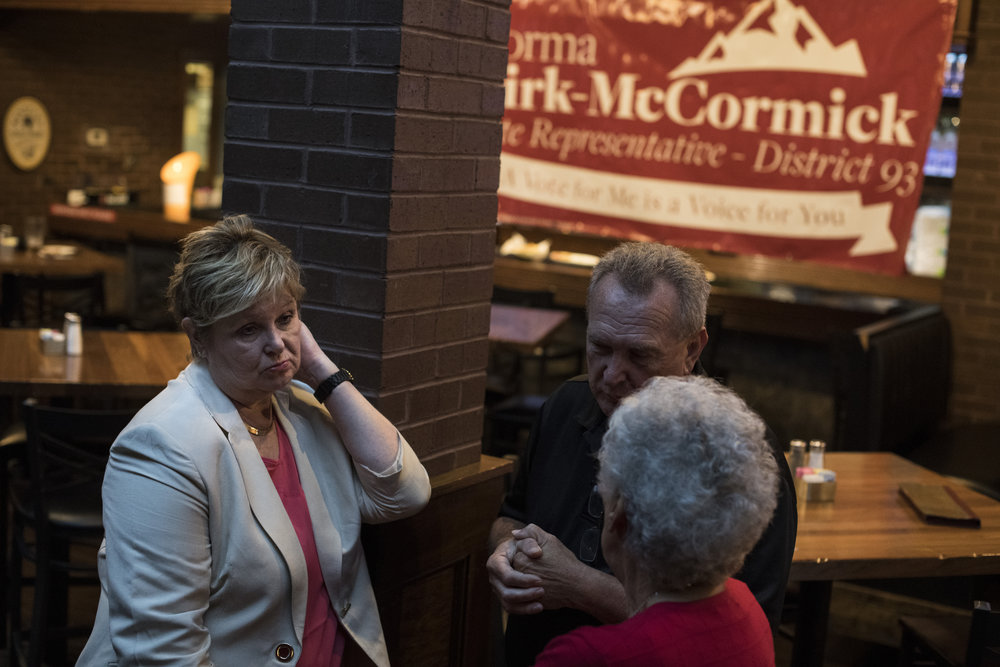 Norma Kirk-McCormick, a Republican candidate for Kentucky State Representative District 93, pauses while mingling with attendees at her campaign fundraiser at Bank 253 in Pikeville, Pike County, Kentucky, on August 2, 2018.