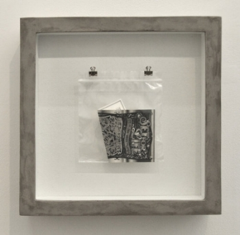 Set for Life , 2014 Graphite pencil on paper, plastic bag, nails, hooks, cork board , wood, and concrete 14 1/8 x 14 1/16 x 3 3⁄4 / 36 x 36 x 9.5 cm