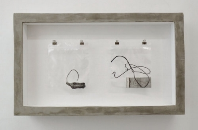 No Dice , 2014-2017 Graphite pencil on paper, plastic bag, nails, hooks, cork board , wood, and concrete 14 1/8 x 24 1/8 x 3 3⁄4 / 36 x 61 x 9.5 cm