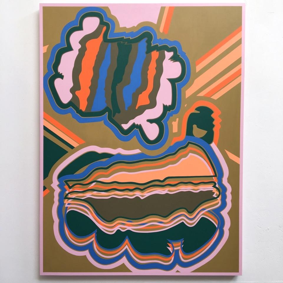 Alexandra Seiler,  Nested , 2018, Acrylic on panel, 40 x 30 inches (detail)