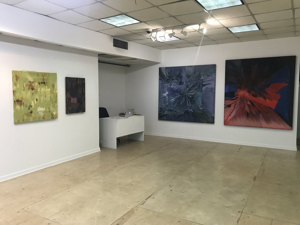 Installation image from  Temporal Escape  featuring works by Victoria Manganiello (left) and Beatrice Modisett (right).