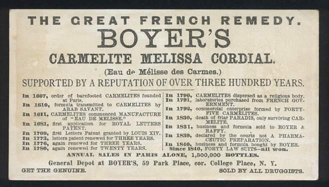 Boyer's Carmelite Melissa Cordial