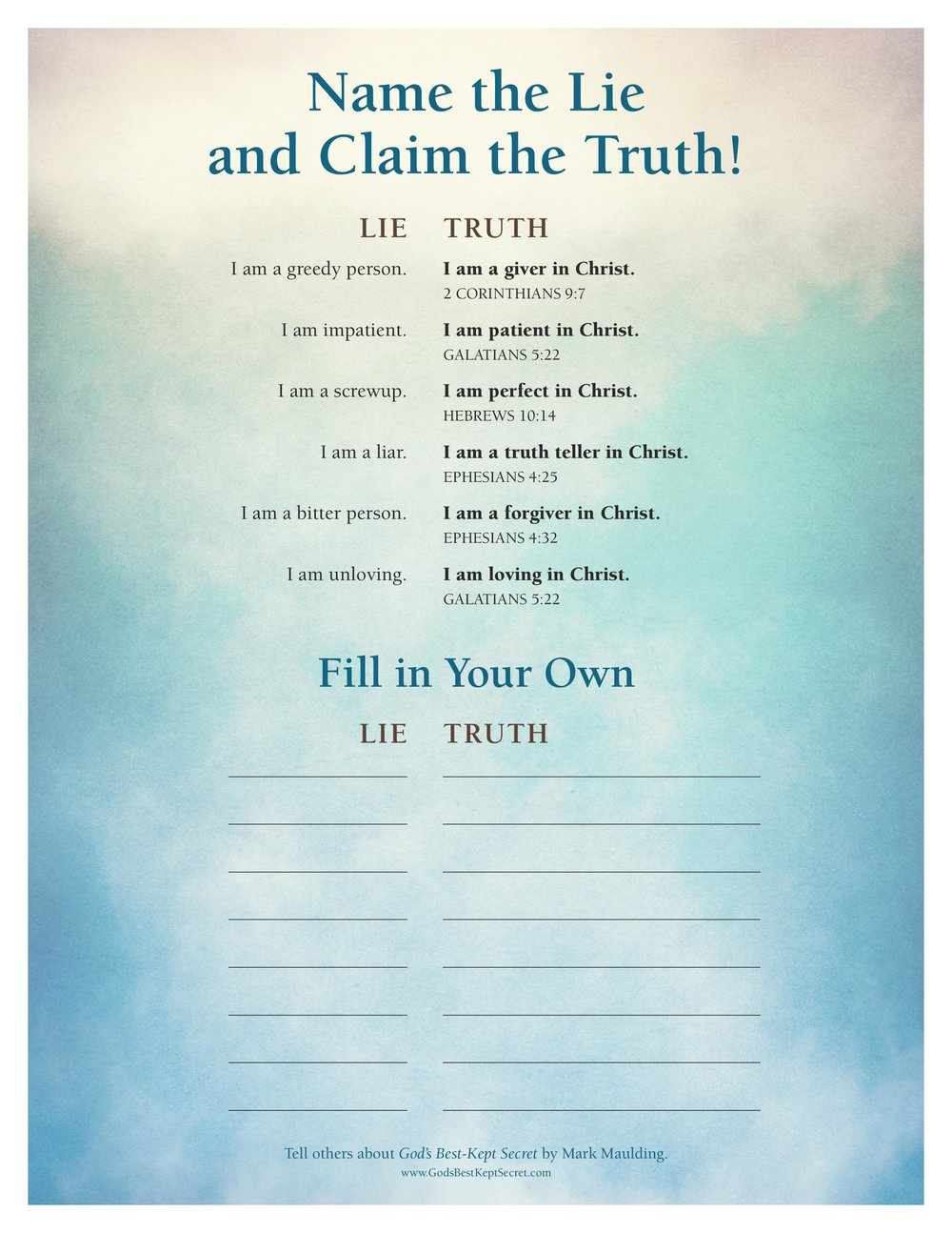 Name Your Lies Claim the Truth