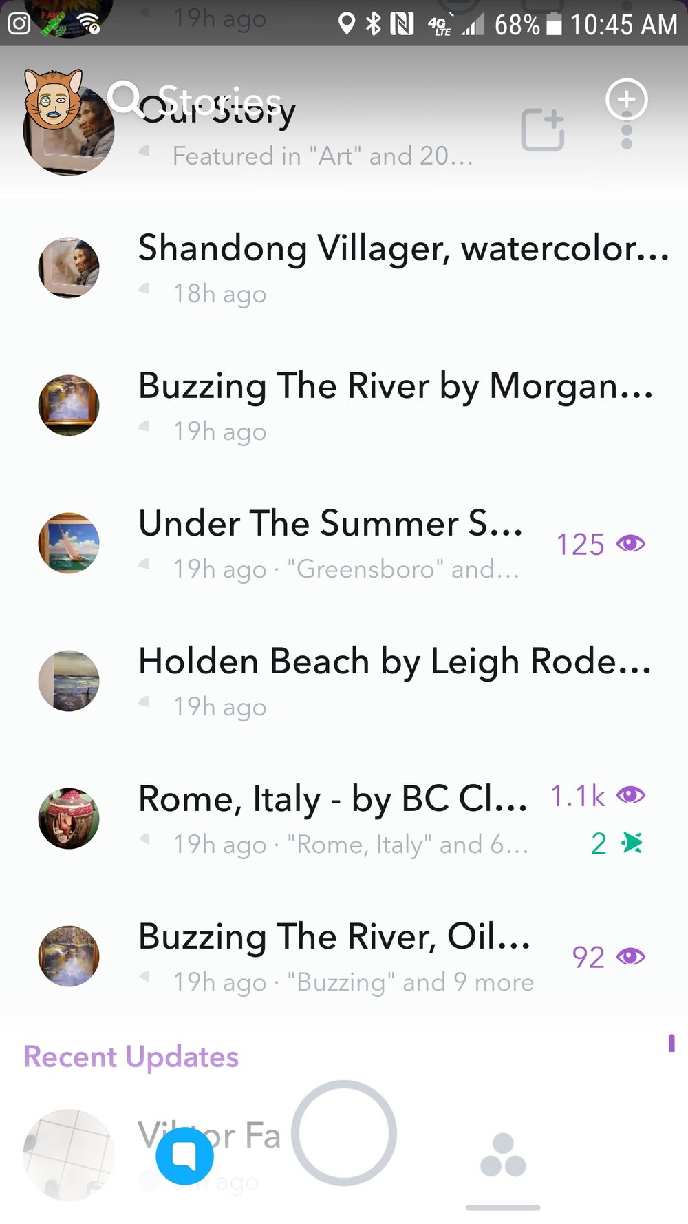 A screengrab of my Snapchat Story results from using the Snap Map - 1300+ views, 2 screenshots. I forgot to screenshot my results within 24 hours of my first few uploads so some of my results disappeared before I could save them. I had roughly 700 additional views on another sculpture as well during this study.