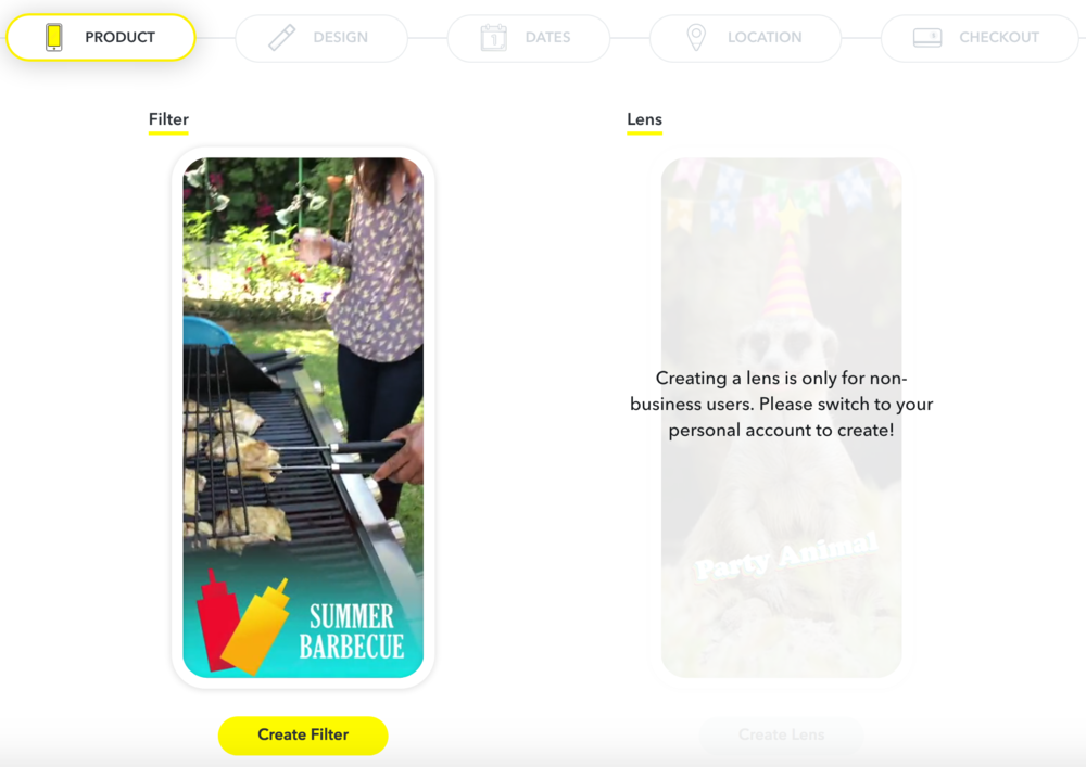 Snapchat Creative - Business dashboard with filters but no lenses (YET! Cmon.. don't hold out on me)
